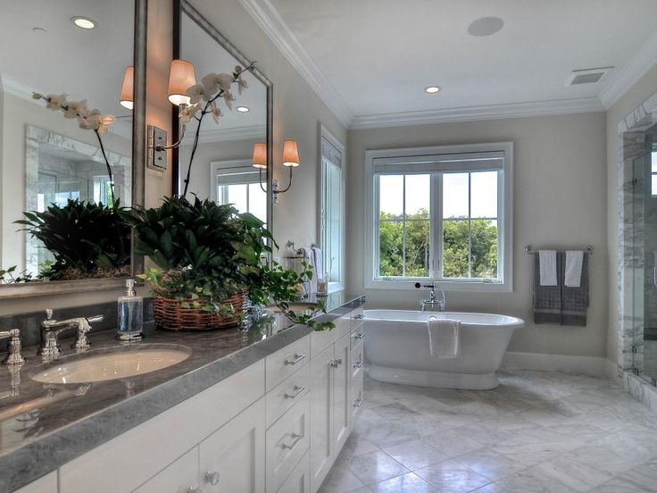 White And Gray Master Bathrooms
