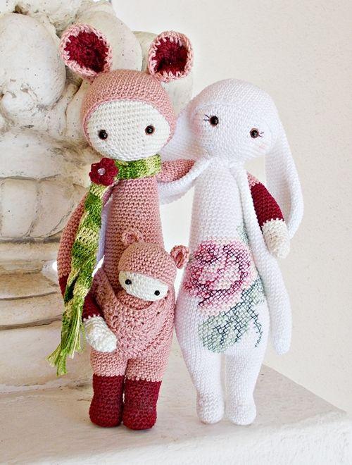KIRA the kangaroo and RITA the rabbit made by Lella / crochet patterns by lalylala