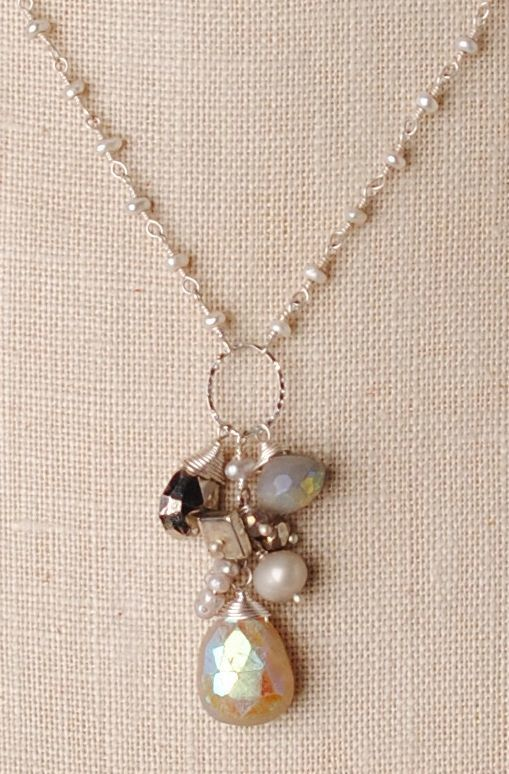 "Anne Vaughan Designs - Silver Mix 17-19"" Gemstone Cluster Necklace, $97.00 (http://www.annevaughandesigns.com/silver-mix-handmade-gemstone-cluster-pearl-necklace/)"