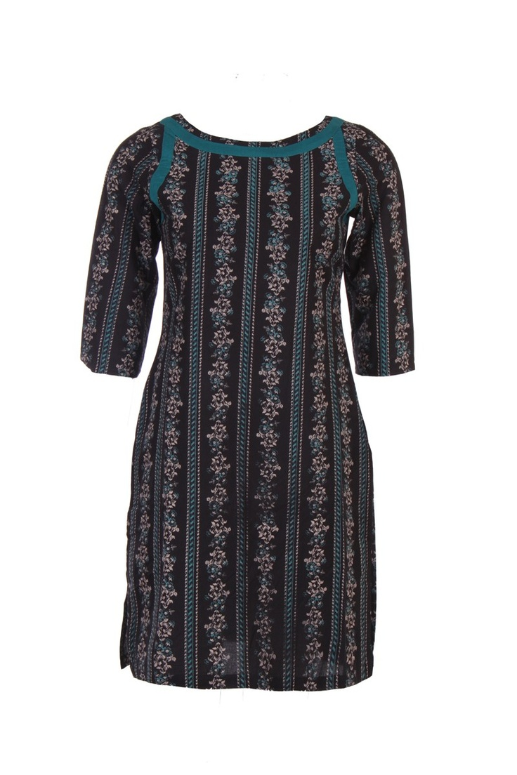 Black printed kurta; round neck; quarter sleeve; 60's cambric; 100% cotton; 37 inches long #Clothing #Fashion #Style #Kurta #Wear #Colors #Apparel #Semiformal #Print #Casuals #W for #Woman