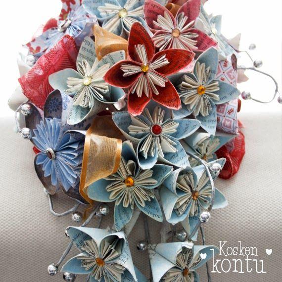 Hääkimppu origamikukista