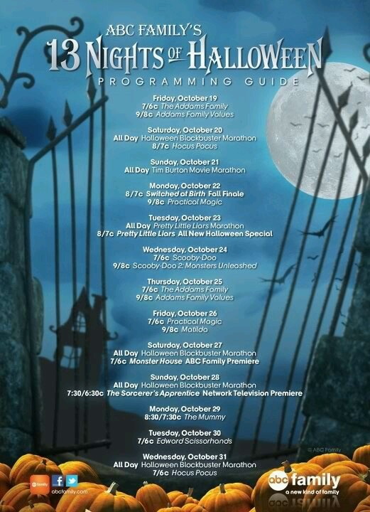 13 nights of halloween abc family tv schedule