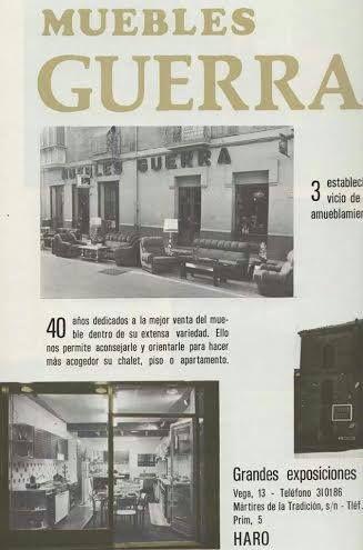 Os traemos este anuncio que hemos encontrado en nuestros archivos. Es de hace 30 años, y ya sacamos los muebles a la Calle de la Vega. ¿Qué os parece? Haro. La Rioja. Decoración.