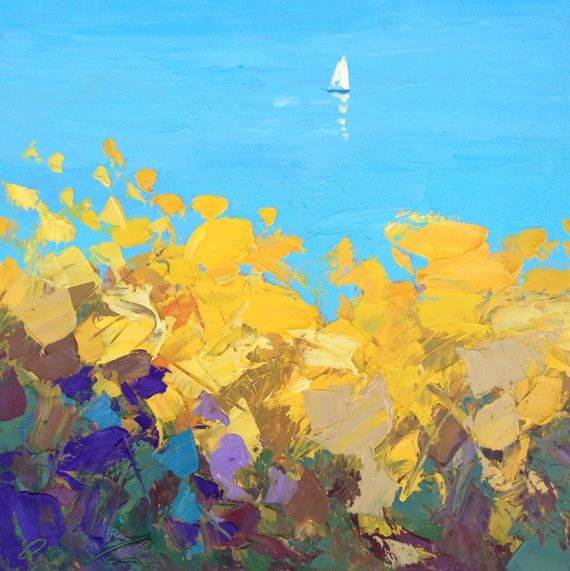 "Sail Ocean painting 31"" oil painting on canvas, Abstract painting, Contemporary art, Handmade by Agostino Veroni"