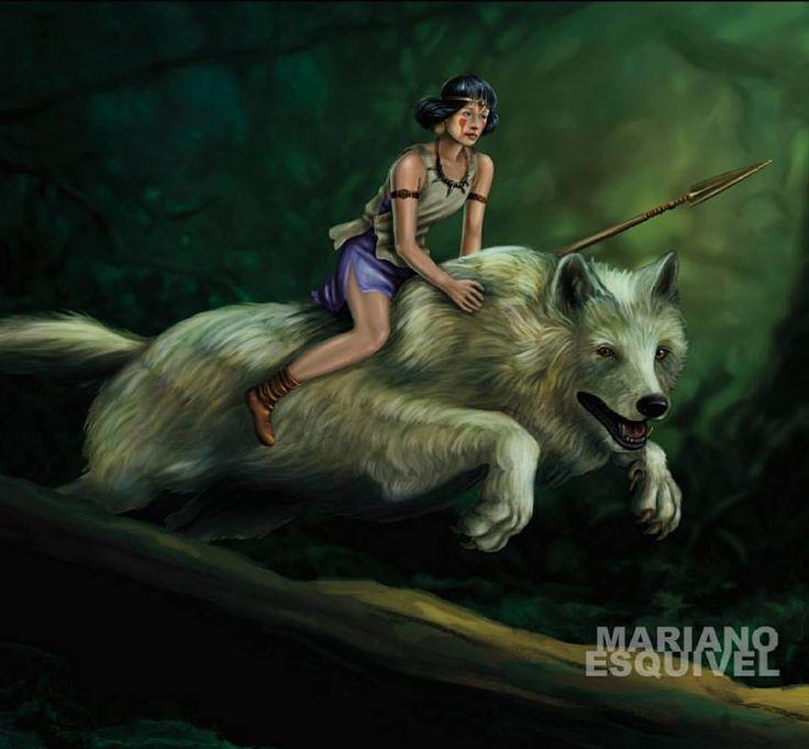 Princesa Mononoke. (Obra en proceso). 50x70 cm. Intuos Pro y Photoshop. 2017