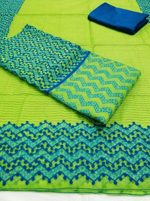 "Supernet kota dress material sets with aari work For more collections visit Facebook page "" imki trendz """