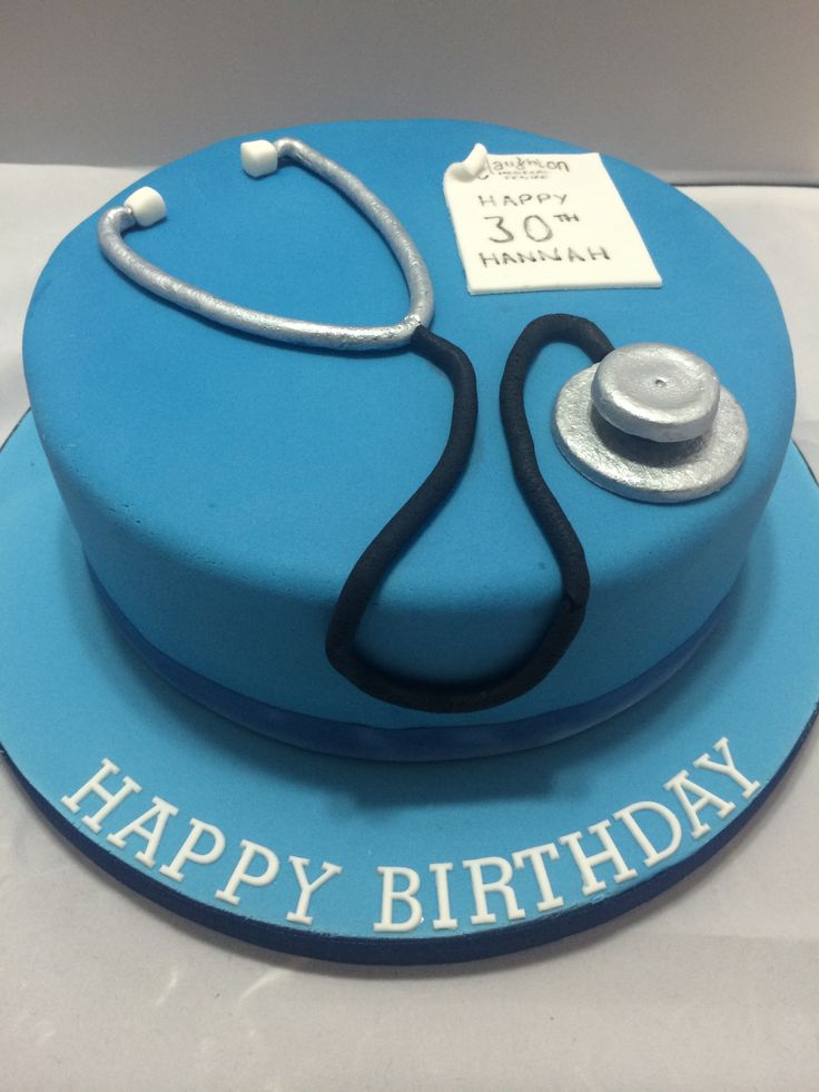 Medical themed cake complete with handmade, fully edible stethoscope and prescription pad.