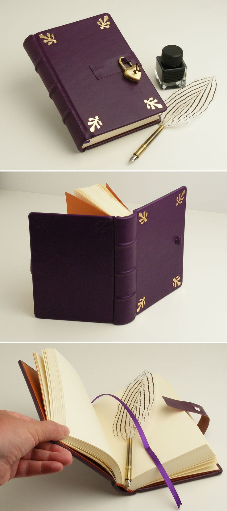 Secret diary, leather memory book, dark purple journal, gift for her, romantic gift, with heartshape padlock and one heartshape key, with gilded decoration. Personalizated with blindpressed monogram. #secretdiary #leatherjournal #leatherbook #purplediary #heartshapepadlock