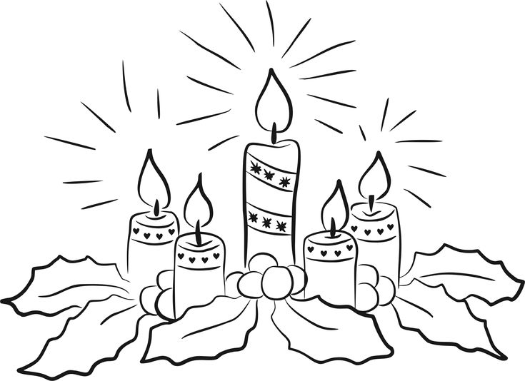 Christmas Candles Line Art by @GDJ, Christmas Candles Line Art by Natunika, https://pixabay.com/en/advent-wreath-candles-advent-1900797/, on @openclipart
