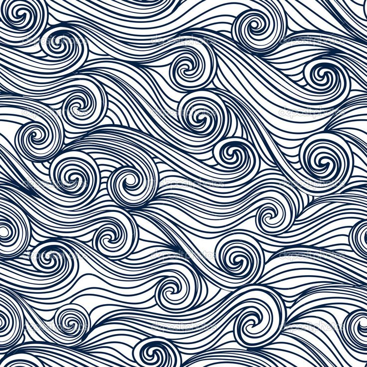 Seamless abstract hand-drawn pattern, waves background | Image vectorielle Svetlana Shirokova © #11922476