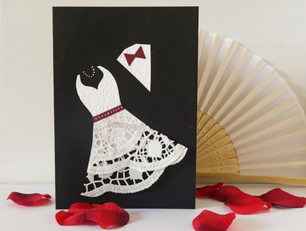 Hochzeitskarte mit Tortenspitze