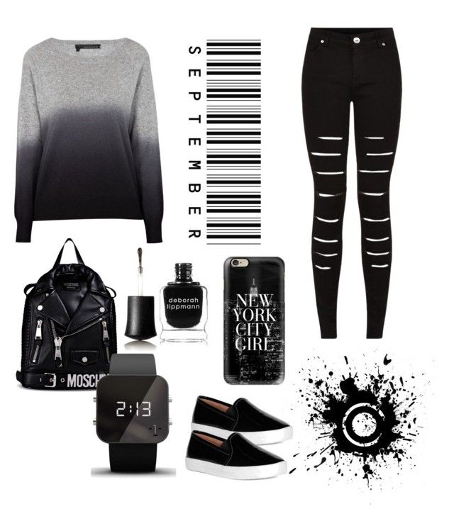 """""""Primsus #010"""" by oktaeprimsus on Polyvore featuring 360 Sweater, Moschino, 1:Face, Deborah Lippmann and Casetify"""