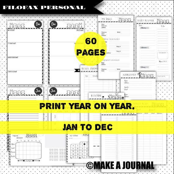 SUPER OFFERTA: Filofax PERSONALE Planner stampabile.  settimana su 2 pagine, Budget / settimanale menu di spesa / calorie / salute inserti tracker.Medium Kikkik