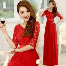 Dama de honor de encaje modest red bridemaid viste con mangas vestido largo elegante para el partido piso longitud de la cucharada mujeres 2015 mujeres W1875(China (Mainland))