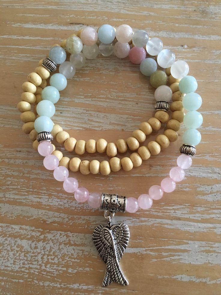 Morganite, moonstone, Amazonite and Rose Quartz gemstone Mala. 108 beads for meditation, praying, chanting or for its stunning energy.