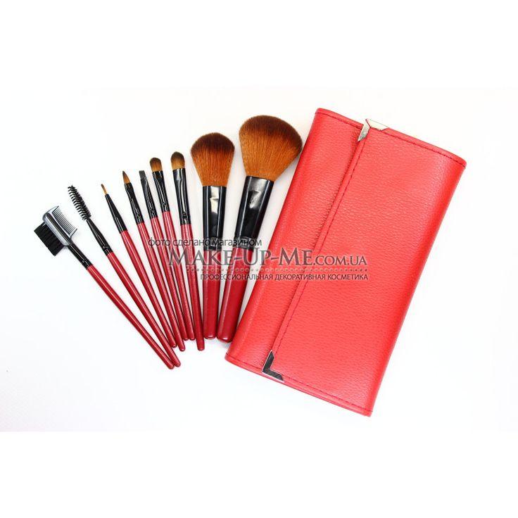 Домашний набор кистей 9 штук в красном чехле B9-RED - Косметика. Интернет магазин профессиональной декоративной косметики. Косметика для визажистов