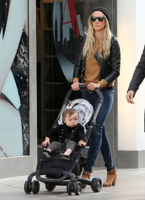 Kimberly Stewart at the Mall with Daughter Delilah and a Mystery Man