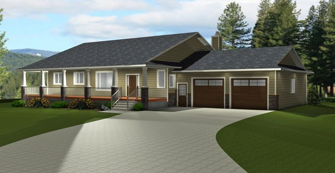 Plan 2012645 Rancher Style Bungalow Plan With A Finished Basement 2 Car Garage 5 Bedrooms 4 Rancher House Plans Exterior House Remodel Bungalow Floor Plans