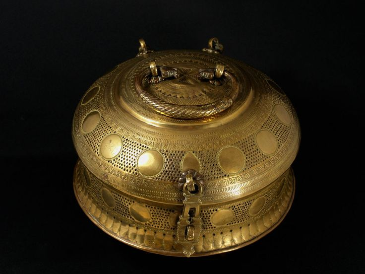 A Fine Large 19th c. Indian Jali-Work Brass Paan (Betel) Box.