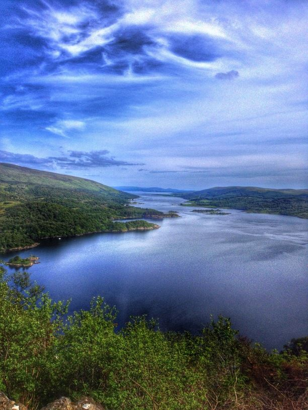 Tighnabruaich viewpoint, Argyll and Bute, Scotland — by Cider Hoff. Looking down the Kyles of Bute. Isle of Bute is on the right with the mainland on the left. The closest point to the...