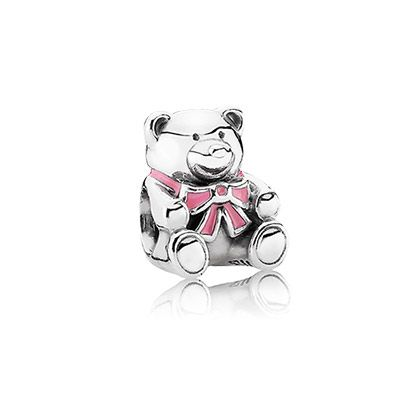 It's a girl! Celebrate it with this cute teddy bear in sterling silver with a pink bow around its neck. $45 #PANDORA #PANDORAcharm