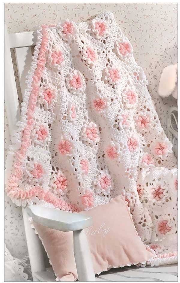 Floral crochet baby blanket pattern found in The Little Encyclopedia of Baby…
