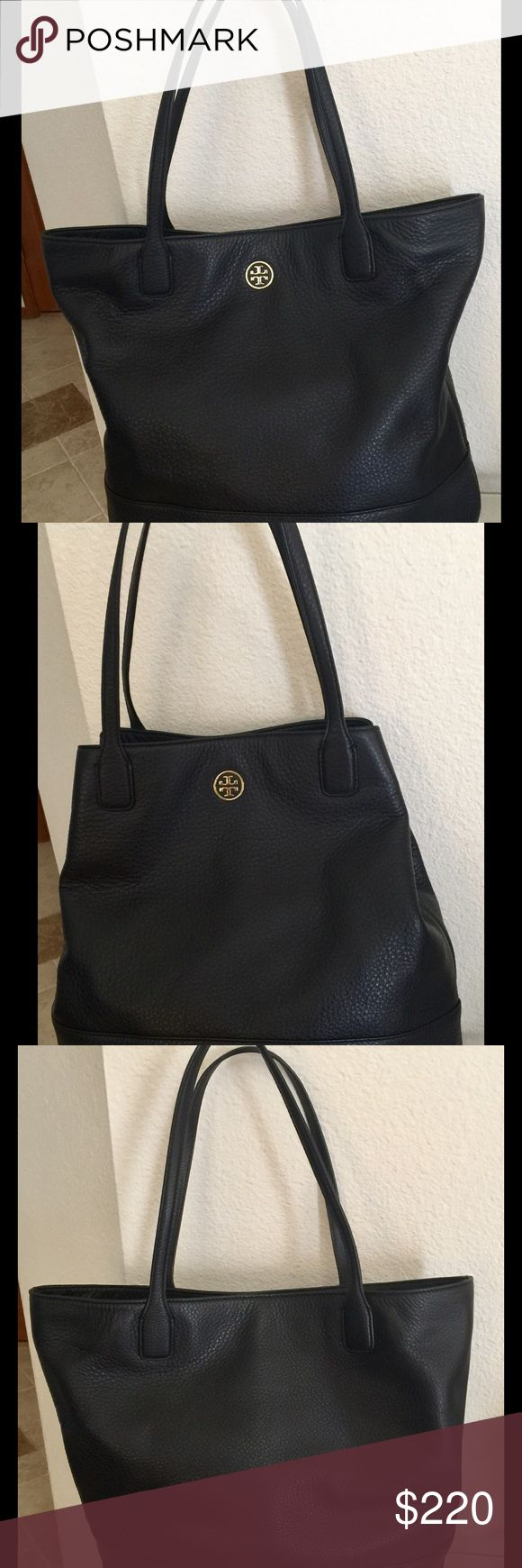 Tory Burch Michelle Tote, Black Leather - PERFECT! -Very roomy & versatile tote.  -Made of soft pebble leather -Front exterior has goldtone Tory Burch logo -Inside lining is black Tory Burch logo sateen -Interior, one zip pocket on the back with a goldtone metal zipper and Tory Burch nameplate on the front -Interior front has 3 slip pockets with the top pocket having a goldtone metal snap closure. -Goldtone magnetic top closure. -Hook and D-ring closure to further close the top.  -There is…