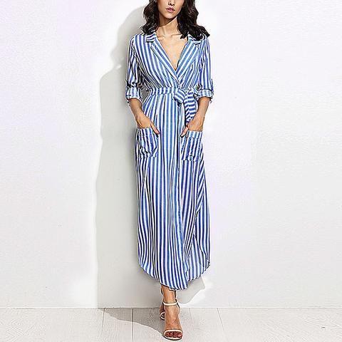 Striped Long Maxi Shirt Dress Ladies