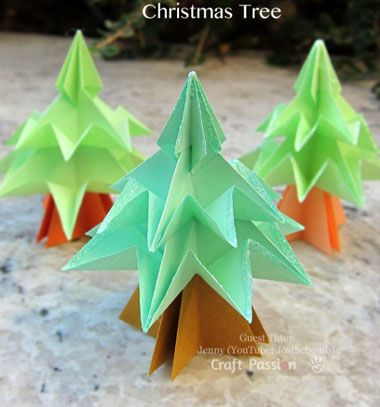 Christmas tree origami / Origami karácsonyfák / Mindy - craft tutorial collection