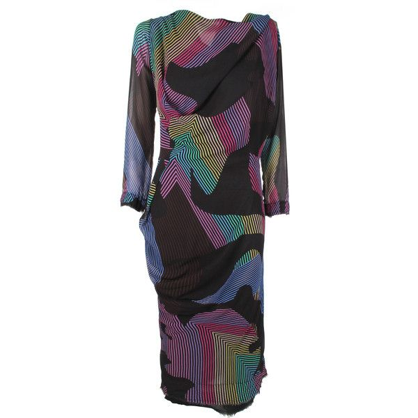 Vivienne Westwood Anglomania New Fond Dress ($555) ❤ liked on Polyvore featuring dresses, asymmetric drape dress, long sleeve day dresses, zig zag dress, long sleeve drape dress and zigzag dress