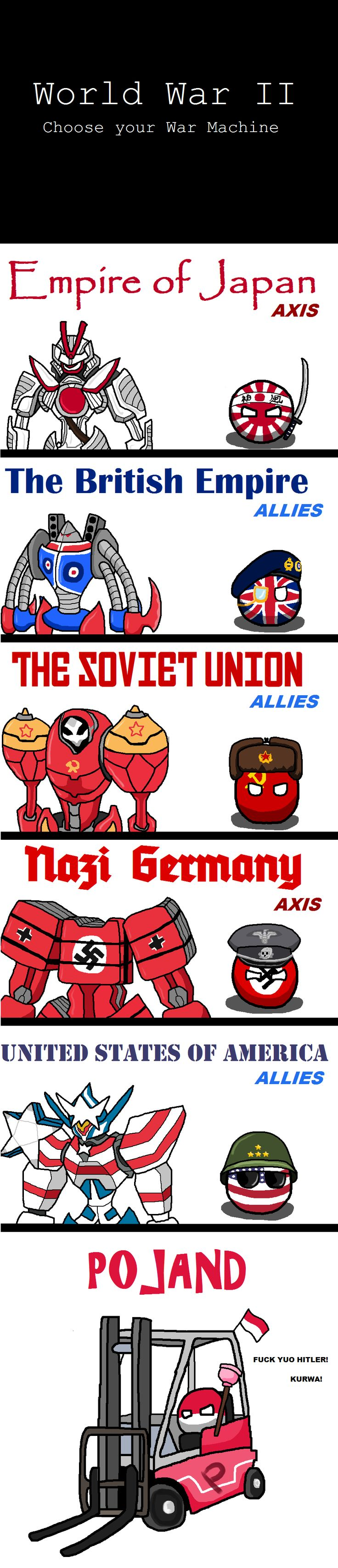 War Machine ( Japan, UK, Soviet, Germany, USA, Poland ) by Pan Aaron #polandball…