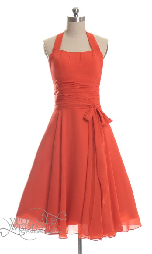 Orange Halter Short Bridesmaid Dress. Leave it to me to find the most awesome bridesmaid dress that I would absolutely love and it is from Europe....