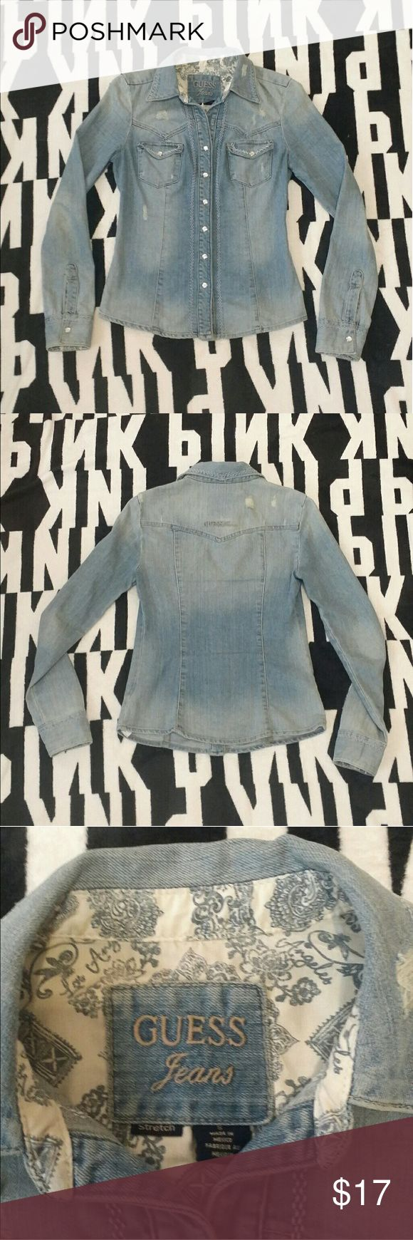 Guess denim long sleeve top Size small Guess Tops Button Down Shirts