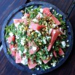 Eat, Fast and Live Longer. A 5-2 Fast Diet Recipe Idea Under 200 Calories. Watermelon, Feta & Mint Salad with Pistachio & Parsley and Lime.