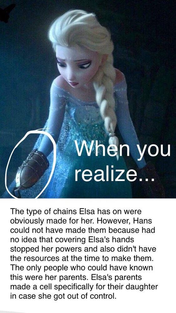 Gosh, these theories are dark. Elsa's parents went all out on safety, going as far to treat her as an animal.