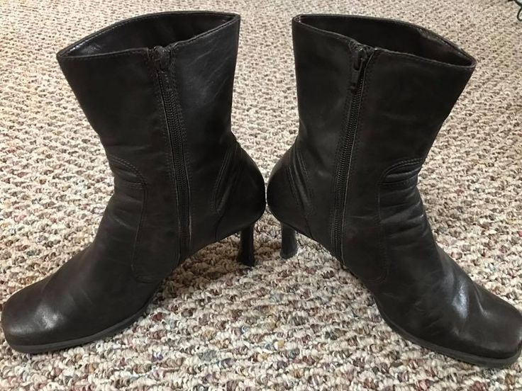 """NINE WEST Brown Leather Zipper Round Toe Ankle Boots 3"""" Heel Sz 8.5M With Box #NineWest #AnkleBootsBooties #Versatile"""