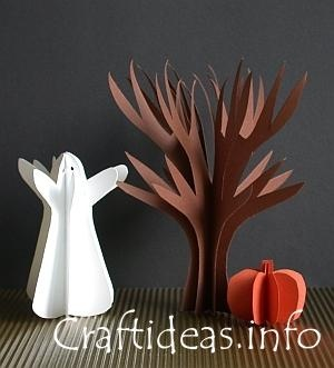 paper craft for halloween paper ghost tree and pumpkin with instructions and patterns