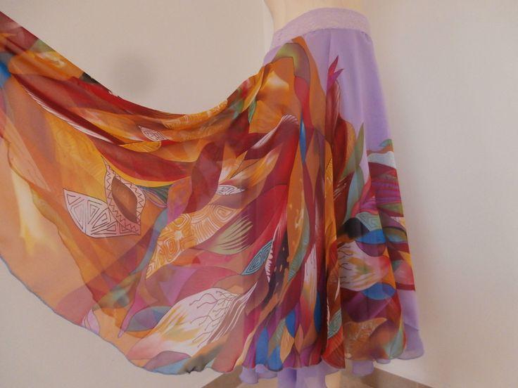 Stunning 2 layered Tango Skirt Bell Size fits US 4 to 8   Milonga Dance Wear Chiffone asymmetric by COCOsDANCEWEAR on Etsy