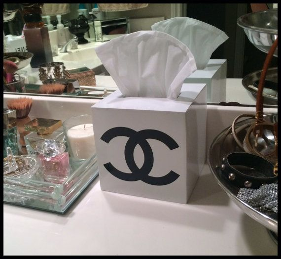 CHANEL White Lacquer Tissue Box Cover by CremedelaCremebyJ on Etsy, $75.00