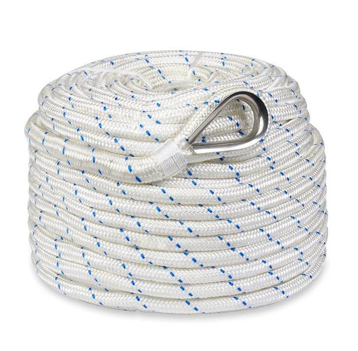 Norestar Braided Nylon Anchor/Mooring Rope with Thimble, 200 feet by 5/8 inch, Boat Rode