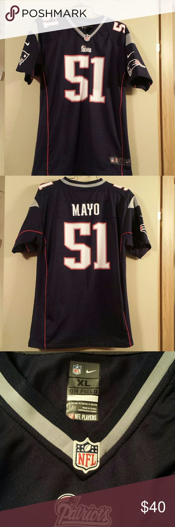 Nike New England Patriots Mayo jersey Navy with red piping detail.   Sides have strip of net material that's navy but can slightly be seen through. Excellent condition.   No stains or tears. Nike Shirts & Tops Tees - Short Sleeve