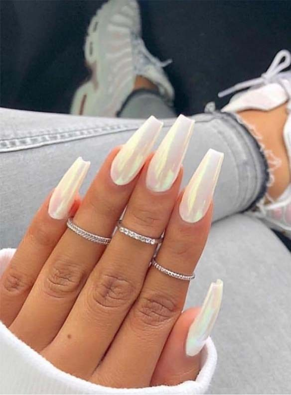 Wonderful Long White Nail Designs To Show Off In 2019 Voguetypes Nail Designs Glitter Long White Nails Best Acrylic Nails