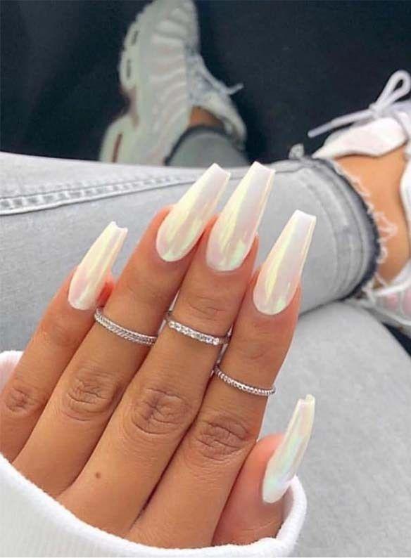 wonderful long white nail design