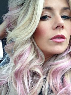 blonde balayage with pink streak - Google Search