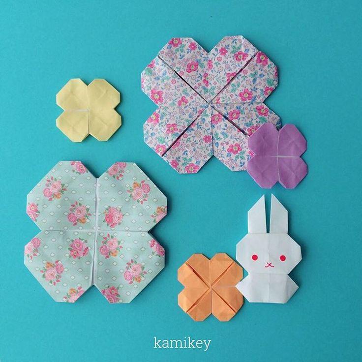 """両面使えるクローバーみたいなのができました。モビールに使うにはいいけれど、両面のメリットがイマイチ不明なので動画化は?です(;^_^A 🐰 「うさぎ3」折り方はYouTube"""" kamikey origami""""チャンネルにて。 🐰  Bunny and flowers  designed by me """"Bunny 3""""Tutorial on YouTube"""" kamikey origami #折り紙#origami #kamikey"""