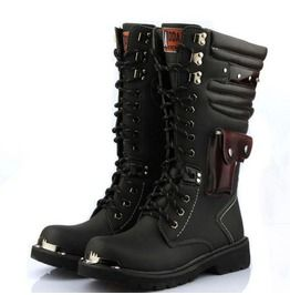 Punk Pocket Lace Up Men Army Boots Men Riding Boots