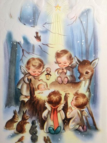 60s Angels Deer Animals Watch Over Baby Jesus Vintage Christmas Card 1225 | eBay