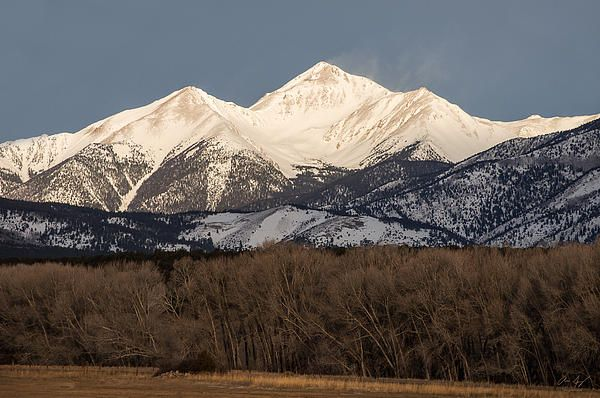 Collegiate fourteener Mt. Yale covered in snow, Buena Vista, Colorado - Mountain photography by Aaron Spong #14er #sawatch #snowy