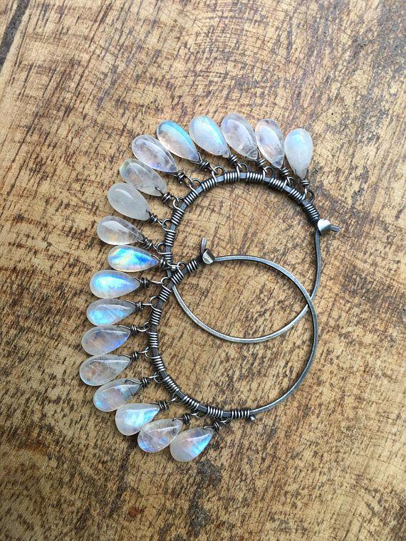 Maanstenen rustieke Sterling Zilver * Luna Llena * vollemaan knipperende maanstenen oorbellen a25 fijne zigeuner. Sterling zilveren hoepels. grote boho