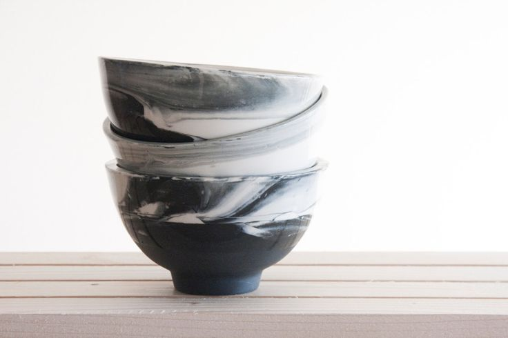 Marble black and white.Hand made ceramic bowl with glossy glaze. Modern and urban look (38.00 USD) by ONEandMANY